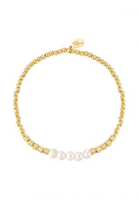 Goudkleurige elastische armband met pareltjes