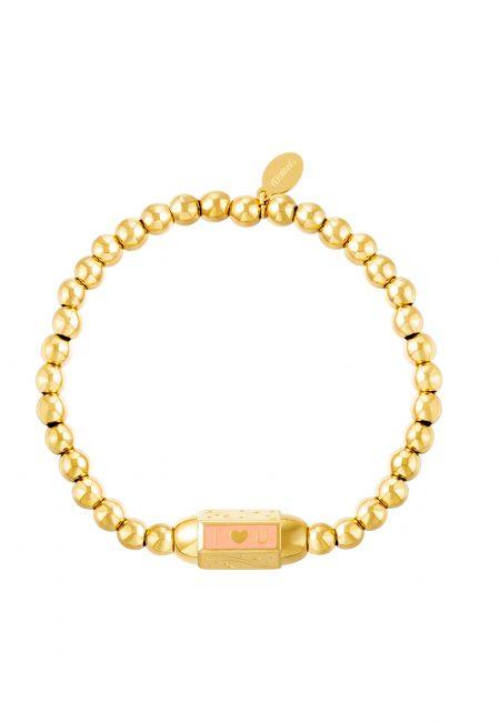 Goudkleurige elastische armband met bedel