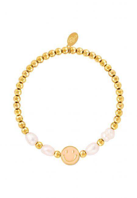 Goudkleurige elastische armband met smile