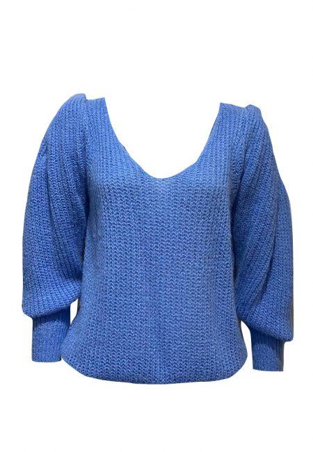 Blauwe trui met schouder detail