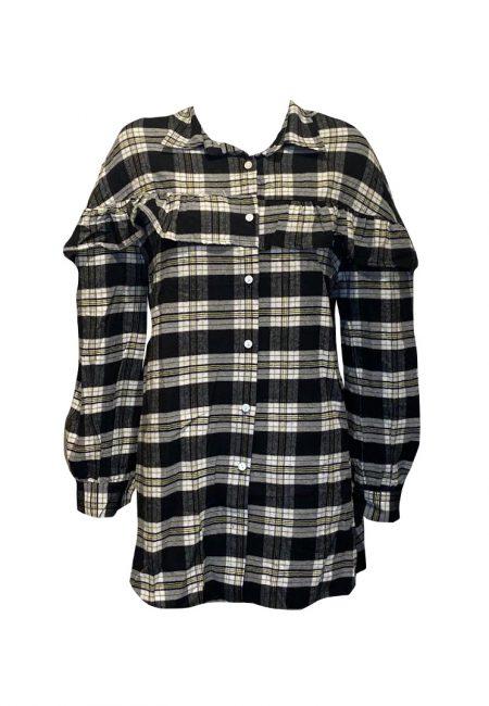 Flanellen oversized ruiten blouse