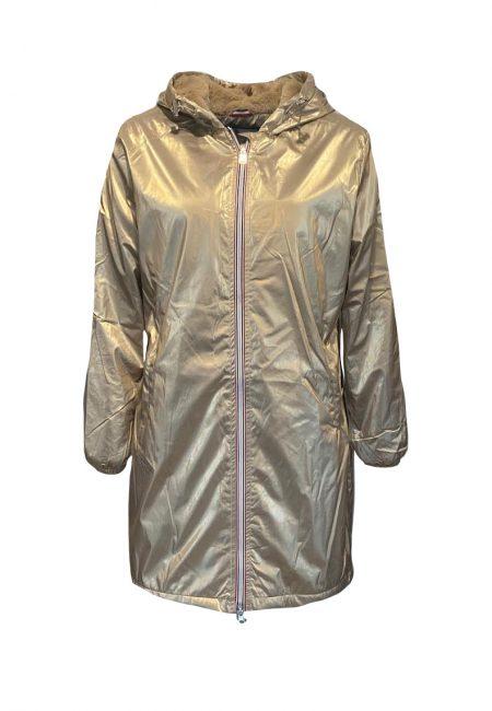 Goud metallic gevoerde jas