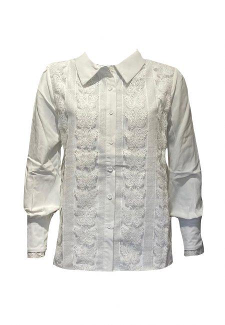 Off white blouse met kant