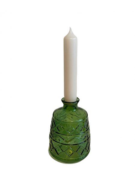 Groen flesje, vaasje, kandelaar