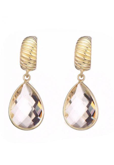 Goudkleurige oorbellen met steen