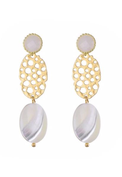 Goudkleurige oorbellen met stenen