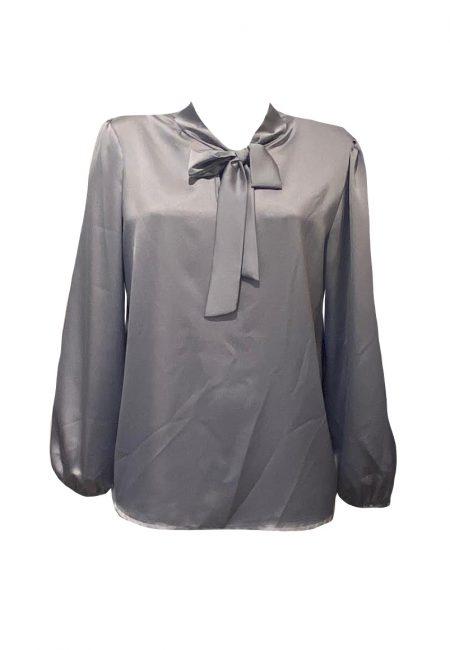 Zilvergrijze satijnen blouse