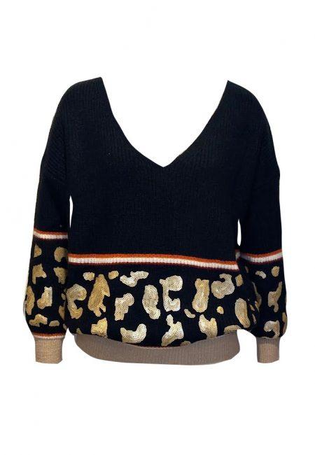 Zwarte v-hals trui met gouden lovertjes